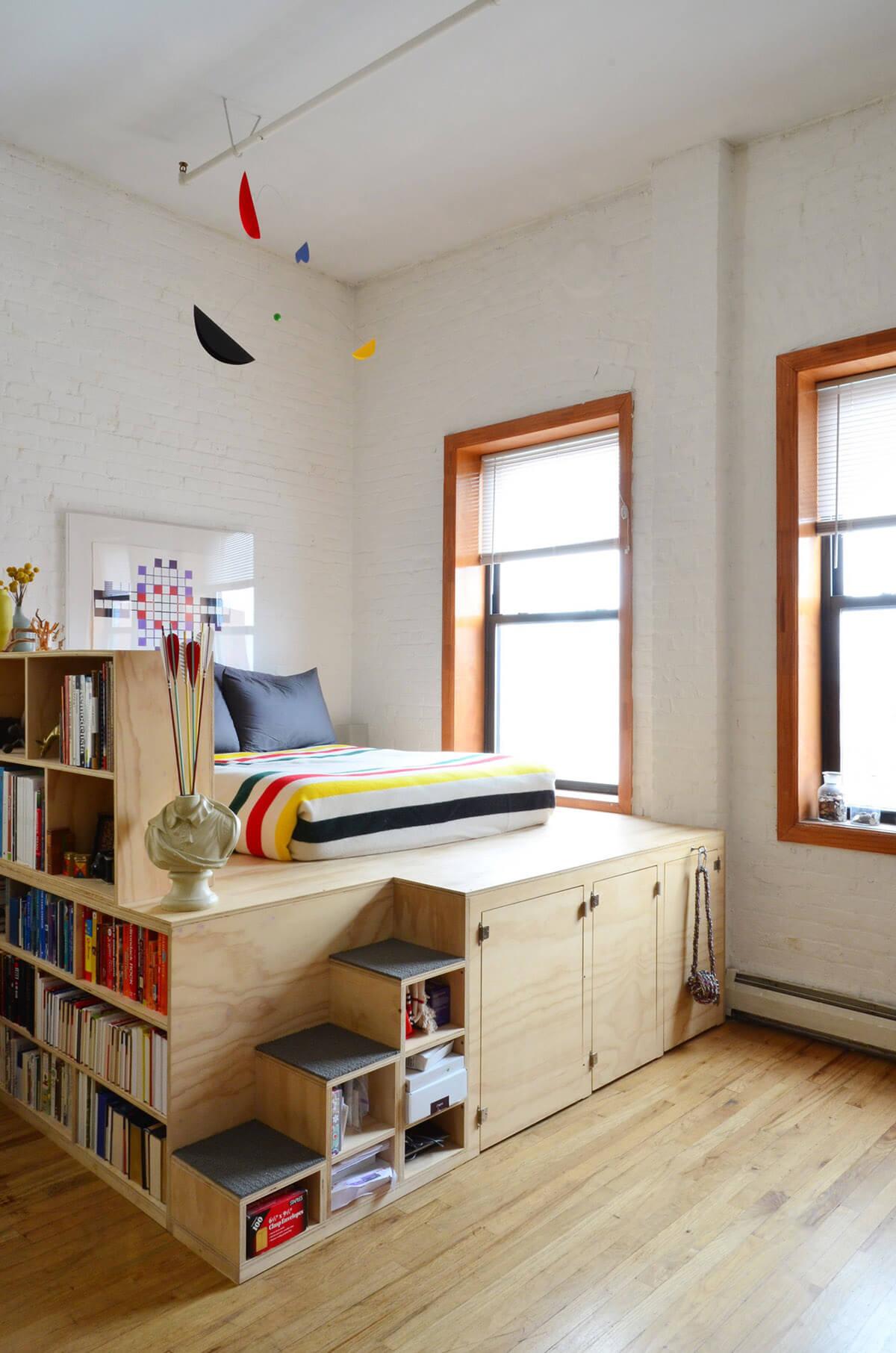 Verhoogd bed met extra ruimte